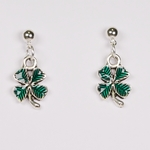 pierced earrings silver ball with ring tiny antique and green 4 leaf clover