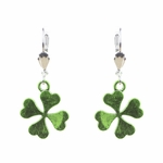 pierced earrings silver euro clasp green solid 4 leaf clover