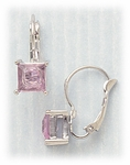 Pierced earrings silver euro clasp pink square crystal