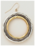 Earrings Silver French Hook Gold Black Silver Open Rings