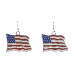pierced earrings silver French hook American flag