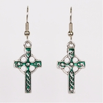 pierced earrings silver French hook antique silver and green Celtic cross