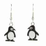 pierced earrings silver French hook black and white penguin