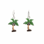 pierced earrings silver French hook green brown palm tree drop