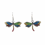 Pierced Earrings silver French hook multi colored dragonfly