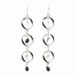 Pierced Earrings silver French hook triple ovals with black crystals and teardrops