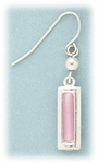 pierced earrings silver French hook with pink cats eye rectangle drop