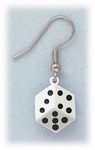 Pierced earrings silver French hook with white and black Dice