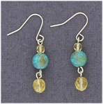 Pierced earrings silver French hook yellow and turquoise beads