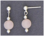 Pierced earrings silver posted ball with ring and rose quartz bead