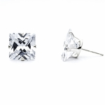 pierced earrings silver posted Cubic Zirconia 10 mm square