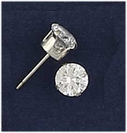 pierced earrings silver posted Cubic Zirconia 6mm round