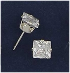 pierced earrings silver posted Cubic Zirconia 6mm square