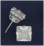 pierced earrings silver posted Cubic Zirconia 8mm square
