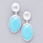 pierced earrings silver posted hammered oval and turquoise oval drop