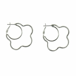 Pierced earrings silver posted lever back hoop twisted black & silver