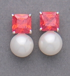 pierced earrings silver posted red square cubic zirconia round pearl