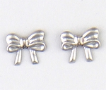 pierced earrings silver posted small bow