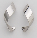 Pierced earrings silver stainless steel posted large curl