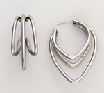 Pierced earrings stainless posted triple wire cage