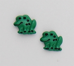 Pierced earrings Stainless Steel Frog green small