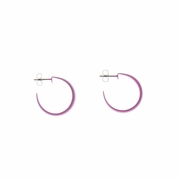 pierced earrings Stainless Steel Hoop hot pink posted small wide hoop