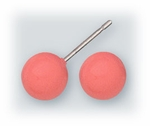 pierced earrings Stainless Steel posted ball 7mm Coral