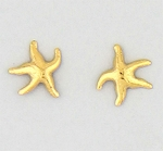 pierced earrings stainless steel posted Gold Starfish