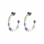 Pierced earrings Stainless Steel posted Hoop with multicolor beads