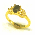 Ring genuine oval onyx with Cubic Zirconia accents