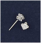 Sterling Silver pierced earring posted cubic Zirconia 3mm clover shape