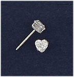 Sterling Silver pierced earring posted cubic Zirconia 4mm by 4mm heart