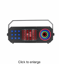 ADJ BOOM BOX FX3 3-FX-IN-1 fixture with a Mini Dekker style effect, Matrix wash and color ring for eye candy. - click to enlarge