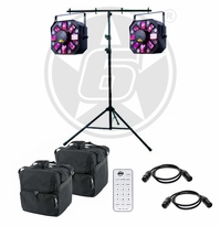 ADJ Stinger II 3-FX-IN-1 Moonflower, Laser, & UV Effect Light Duo Package with Stand