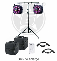 ADJ Stinger II 3-FX-IN-1 Moonflower, Laser, & UV Effect Light Duo Package with Stand - click to enlarge