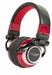 "AMERICAN AUDIO ETR1000R - ETR095 - Comfortable Hi-Performance DJ Headphone. Flat cable with 1/8"" plug and 1/4"" adaptor. DJ Etronik Signature Edition (Red)"