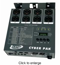 AMERICAN DJ CYBER PAK 4 channel, DMX dimmer/switch pack, individual DMX addressing for each channel, ETL. midi pack and chase controller - click to enlarge