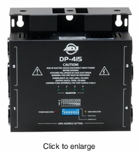 AMERICAN DJ DP-415 4 channel, DMX dimmer/switch pack with dip switches. 500 W per channel. Max power: 15A total, 5A per channel. - click to enlarge