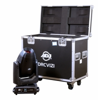 AMERICAN DJ DRC VIZI Heavy duty dual road case with wheels designed to fit two Vizi CMY300, Vizi Hybrid 16RX, VIZI BSW300 or Vizi 5RX and other similar sized ADJ fixtures.