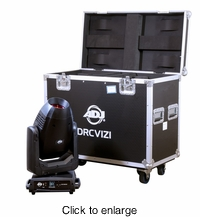 AMERICAN DJ DRC VIZI Heavy duty dual road case with wheels designed to fit two Vizi CMY300, Vizi Hybrid 16RX, VIZI BSW300 or Vizi 5RX and other similar sized ADJ fixtures. - click to enlarge