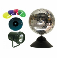 "AMERICAN DJ MB 8 COMBO 8"" mirror ball package with PL-1000, MDCBASE, 4 x CL 100."