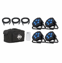AMERICAN DJ MEGA FLAT HEX PAK 4 x Mega Hex Par , 3 x dmx cables, 1 x carrying case. (replaces Mega Flat Tri Pak)