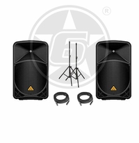 Behringer B115W DJ Package w/ Speaker Stands & Cables