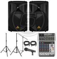"Behringer B215D 15"" Powered Speaker Package w/ Xenyx Q802USB Mixer & Behringer XM8500 Microphone"