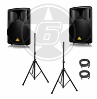 Behringer B215D DJ Package w/ Speaker Stands & Cables