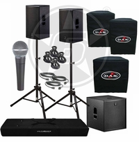 "D.A.S. Action 15A 15"" Powered Speakers & Action 18A Subwoofer Package with Shure SM58 microphone"
