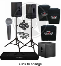 "D.A.S. Action 15A 15"" Powered Speakers & Action 18A Subwoofer Package with Shure SM58 microphone - click to enlarge"