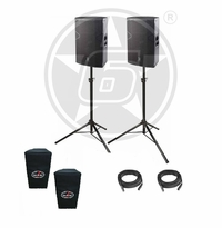 "D.A.S. Audio (2) Vantec 15A Two-Way 15"" Powered PA Speaker Package w/ stands & covers"