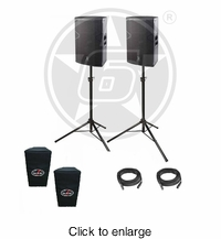 "D.A.S. Audio (2) Vantec 15A Two-Way 15"" Powered PA Speaker Package w/ stands & covers - click to enlarge"