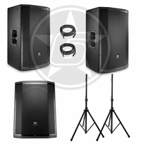 JBL PRX DJ Package w/ (2) PRX815 Powered Speakers & (1) PRX818XLFW Powered Subwoofer w/ Speaker Stands & Cables